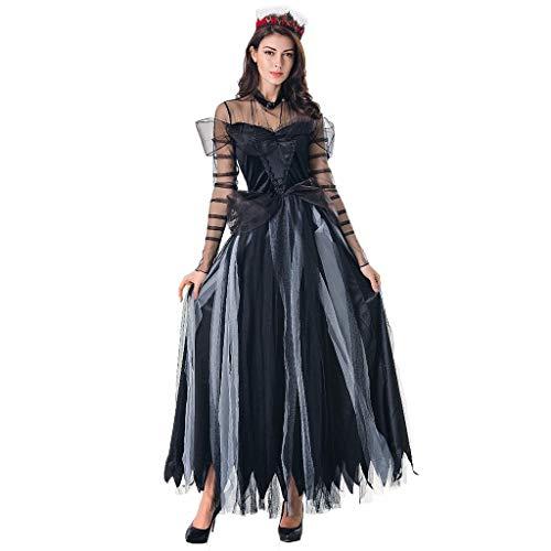 INLLADDY Kostüm Damen Cosplay Kleid Vintage Hexe Langarm Maxikleid Horror Geist Braut Zombie Blutiger Vampir Carneval A M