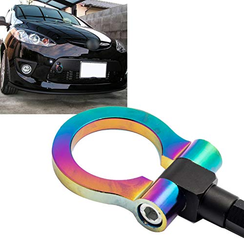 Xotic Tech Neo Chrome JDM Sporty CNC Aluminum Front Bumper Tow Hook for Mazda CX-5 2013-2018, Fit Mazda MX-5 Miata 2016-2018