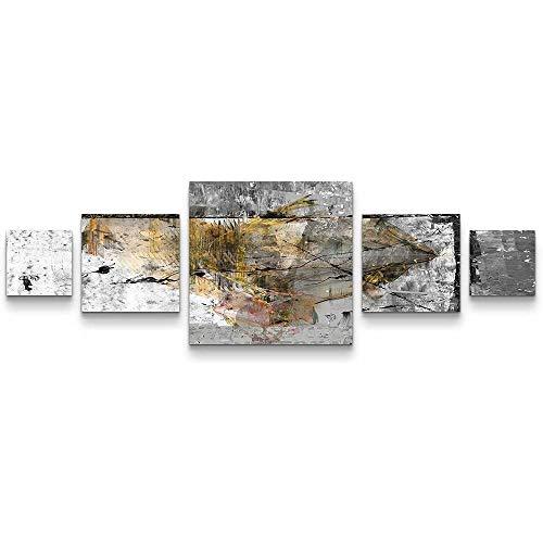 MUJOELE Cuadro de pared de alta calidad sobre lienzo, serie abstracta, pintura y caligrafía, 5 cuadrados en total 160 x 50 cm