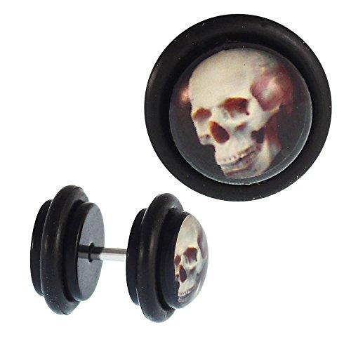 Chic-Net Fake Piercing Plug Tunnel Totenkopf plastisch 3D Acryl Gummiring 7 mm