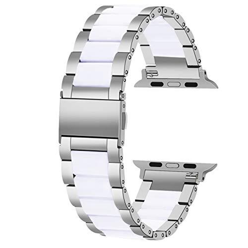 Juntan Smart Cinturino Acciaio Inox Compatible for Apple Watch 38mm 40mm Apple Watch Series 6 SE iWatch Series 5 4 3 2 1 Sport Resina Bianca Argento