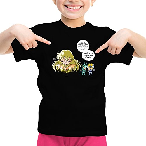Okiwoki T-Shirt Enfant Fille Noir Saint Seiya parodique Shiryu du Dragon, Hyoga du Cygne et Shaka : La Technique Interdite: Le Roupillon du Lotus !! (Parodie Saint Seiya)
