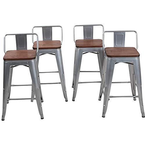 24 Inch Metal Bar Stools Counter Stool Modern Barstools Industrial Bar Stools Set of 4 (24 inch, Silver)