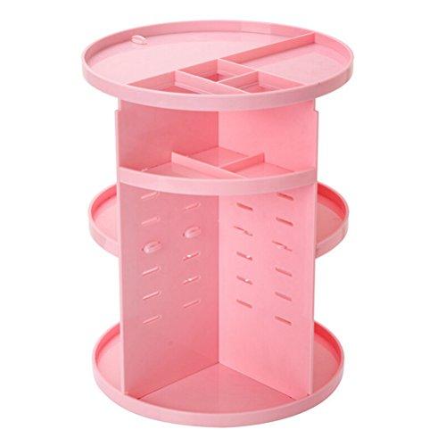 PIXNOR Organiseur de Cosmétiques Maquillage Rotatif Bijoux Affichage Boîte de Rangement (Rose)