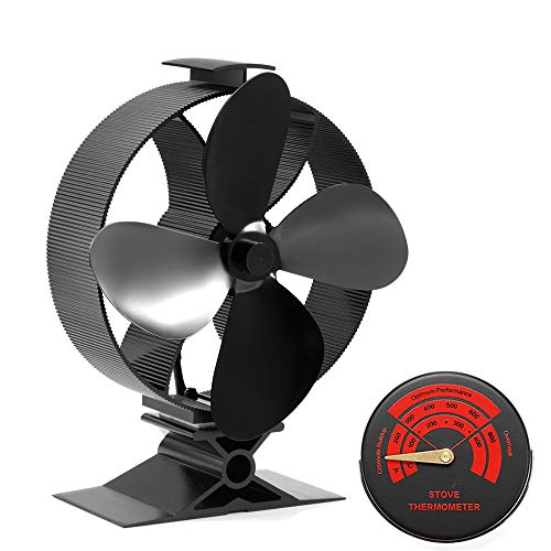 2020 Heat Powered Wood Stove Fan - The Eighth Upgrade Generation VI Model 4-Blade Log Burners Fans - Wood Burning Stove Fans for Multi Fuel/Gas/Wood/Log Burner/Stove- Big Size