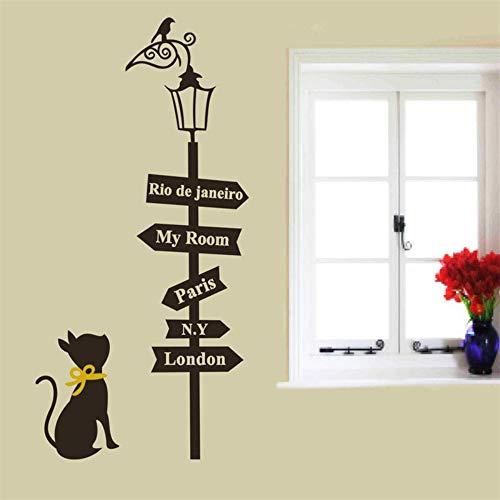 Creatieve wedstrijdtekens, leuke kat, vogel, licht, muursticker, wooncultuur, cartoon dier, muurtattoo, Parijs, Londen woorden Mural Art