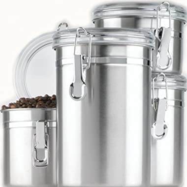 Anchor Hocking Round Stainless Steel Canister Set with Clear Acrylic Lid and Locking Clamp, 4-Piece Set