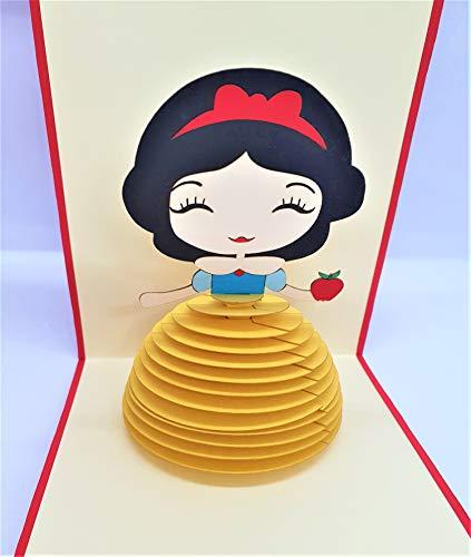 Handgemachte 3D Pop-up Geburtstagskarte Schneewittchen Märchen Prinzessin Liebe Baby Geburt Brautdusche Hochzeitstag Valentinstag Halloween Muttertag Vorschlag Tea Party
