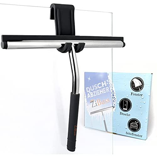 ZiBuss® - Premium Duschabzieher mit GRATIS Halterung ohne Bohren - Fensterabzieher - Maximaler Halt durch praktischen rutschfestem Silikongriff mit schöner Optik