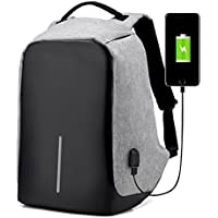 Anti-Theft Travel Laptop Backpack with USB Charging Port (Grey)