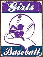 なまけ者雑貨屋 Girls Baseball 2 復古調 鉄 アメリカン 復刻版 アンティーク風 雑貨 おしゃれ インテリア