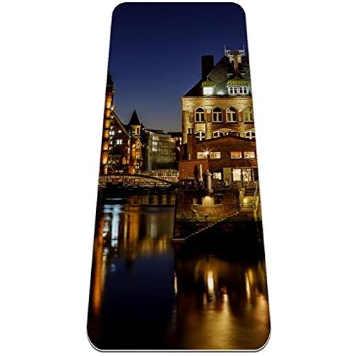 Speicher Stadt, tapete de yoga ecológico con correa de transporte, antideslizante, TPE para yoga, ejercicio grande y fitness, tamaño 183 x 65 x 0,6 cm
