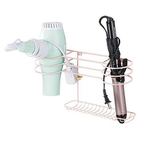mDesign Soporte de pared para secador de pelo – Práctico estante de baño con 3 divisiones para utensilios de peluquería – Ideal organizador de baño para secador, plancha o rizador – rosa