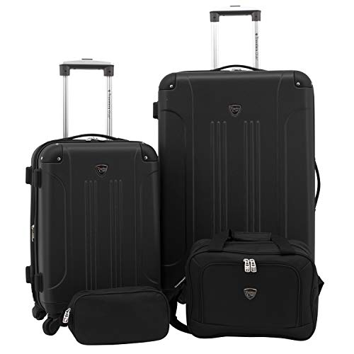 Travelers Club Sky+ Hardside Expandable Luggage Set with Spinner Wheels, Black, 4 Piece