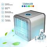 tmtonmoon Mini Aire Acondicionado Portátil, Enfriador de Aire Ventilador Humidificador USB Air Cooler 3 en 1 Velocidades Ajustable 7 Colores LED, para Hogar Oficina