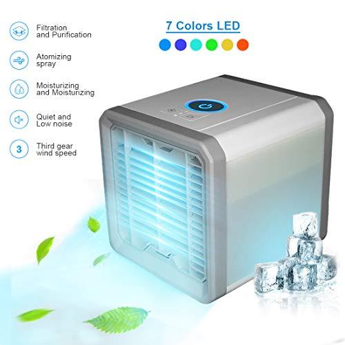Tmtonmoon Mini Luftkühler, Air Cooler USB Mobile Klimaanlage Tragbare Air Conditioner, Luftbefeuchter und Luftreiniger, Tischklimaanlage Ventilator, 7 Stimmungslichter