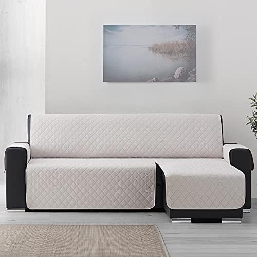 Lanovenanube Funda Chaise Longue Acolchado Sweet - Práctica Reversible 240 cm - Color Marfil