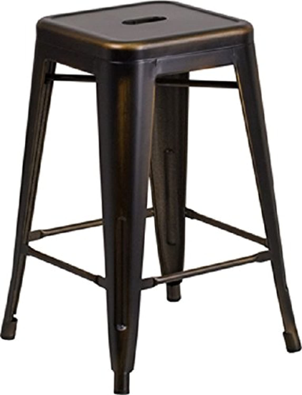 Flash Furniture High Backless Distressed Metal Indoor Counter Height Stool, 24 , Copper