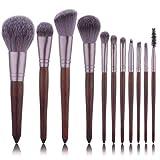 11 unids Cepillos de maquillaje de madera rojos Conjunto Cepillo de llama Sombra de ojos Fundación Cosmética Polvo Mezcla Kabuki Make Up Pincel Kit de herramientas (Handle Color : Brown)