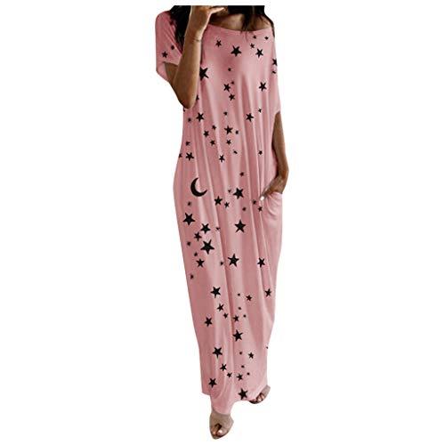 ReooLy Vestido de Falda de Bolsillo con Estampado de Luna y Bolsillo con Estampado de Luna de Estrella