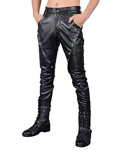 Faux leren broek voor heren, slim, zwart, met moderne nonchalante zakken, metalen gesp, lederen broek