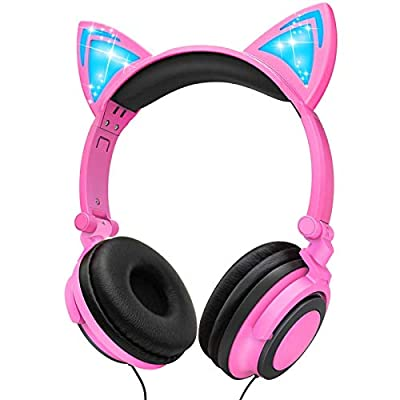 Amazon - Save 72%: Ifecco Kids Headphones with LED Glowing Cat Ears, Safe Wired Kids Headsets…