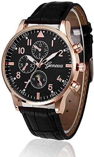 JZDH Mano Reloj Reloj de Pulsera Hombres Reloj de Pulsera de Cuarzo Diseño Retro Banda de Cuero Aleación analógica Reloj Reloj Reloj Reloj Reloj Mens Relojes Decorativos Casuales (Color : Black)