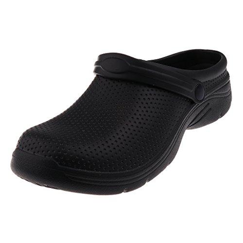 Sharplace Rutschfeste Clogs Trucker Arbeitsschuhe Sicherheitsschuhe Sicherheits Sandale Halbschuhe Gartenschuhe Hausschuhe Pantoffeln Gummischuhe - schwarz, EU 40