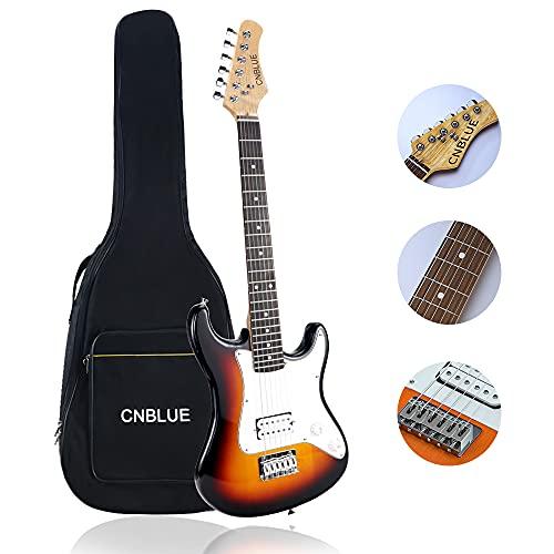 CNBLUE 36 Inch Electric Guitar,3/4 Size Beginner Electric Guitar with Soft Case Gig Bag (Sunburst)