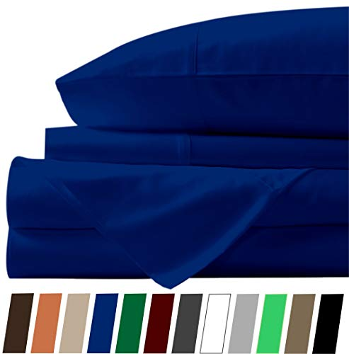 1000 TC Cotton Bed Sheets on Amazon - 4 Pc Navy Blue, Full Sheet Set, Single Ply Long Staple Combed Cotton Yarns, Best Luxury Hotel Sheets Like Sateen Weave, Fits Mattress Upto 21'' Deep Pocket