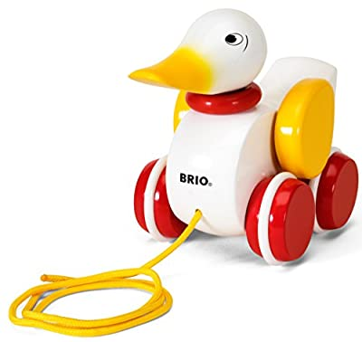 BRIO World - 30323 Pull Along Duck Baby Toy   The Perfect Playmate for Your Toddler,White
