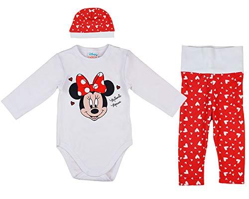 Disney Baby Mädchen Set Outfit 3-teiler mit Minnie Mouse in Gr. 56 62 68 74 80 86 Baumwolle süß für 6-12 12-18 18-24 Monate 1 Jahr Body Mütze Hose Farbe Modell 4, Größe 56