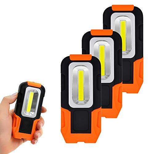 Lamparas LED Linterna Camping de Trabajo COB LED Pila Portatil Maglite Pequeño con Iman y Gancho Plegable para Trabajar Emergencia 3 Pilas AAA No Incluidas 3 Lamparas de Enuotek