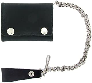 Geronimo BW1017 Black Tri-Fold Leather Wallet with Silver Snaps