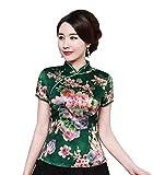Shanghai Story Cheongsam Shirt Short Sleeve Qipao Top Faux Silk Chinese Blouse 3XL A1010B