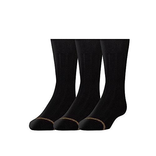 Gold Toe Boys' Wide Rib Dress Crew, Black, Large (Shoe Size: 3-9)