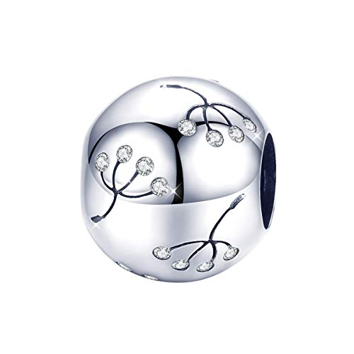 Pusteblumen-Charms, 925er Sterlingsilber, runde Perlen, kompatibel mit Pandora-Armbändern und Halsketten