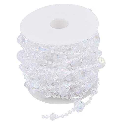 ShawFly 10M Acrylic Transparent Heart Diamond Crystal Beads Garland Diamond Wedding Tree Decor for Wedding, Party, Curtain,Door Curtain, Home Decorations (Diamond)