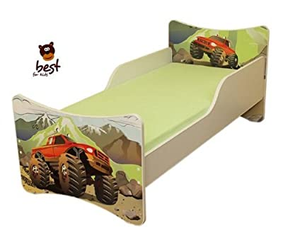 BEST FOR KIDS- Children/Toddler bed- wooden low sleeper with Guardrails 90x180 - AUTOMOBILE