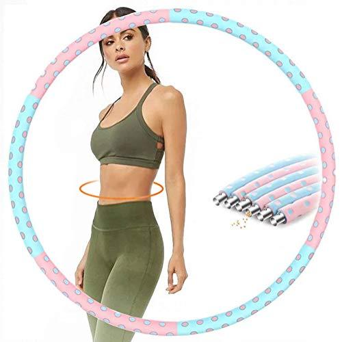 Azanaz Hula Hoop Reifen Gewichtsreduktion Fitness Reifen Erwachsene Reifen 6 Abschnitt Abnehmbares Design 1 kg-5 kg Einstellbar Doppelschichtschaum Fettverbrennende φ94cm Pink+Blau