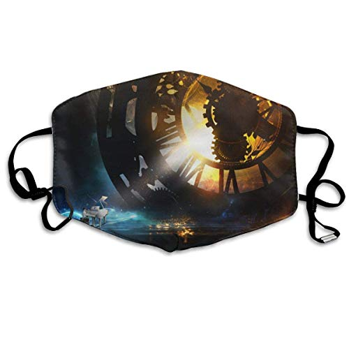TRUJDNS Anti Dusk Face Cover Child Plying Piano Steampunk Clock Printed Facial Decorations Washable Cloth Mouth Protection for Women Men