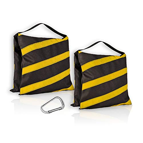 ESINGMILL Saddlebag Sand Bags for Photography Video Equipment, 2 Pack Super Heavy Duty Empty Sandbag Weight Bags for Photo Video Studio Stand, Light Stand Tripod and Jib Arm Mini Camera Crane