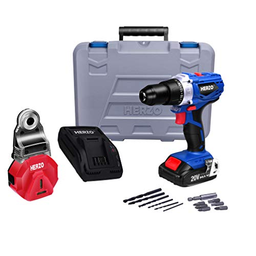 Cordless Drill Driver HERZO 20V Power Drill 26Nm with 191 Torque Setting Dust Collector13pcs Accessories