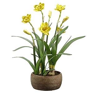 19″ Silk Daffodil Flower Arrangement w/Cement Pot -Yellow (Pack of 2)
