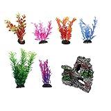 WANGSHAOFENG Plantas de Decoraciones del Tanque de Peces con Vista a la rocalla, 6 unids Plantas de Acuario Artificial y Acuario Mountain Reef Rock CAV Planta Acuario