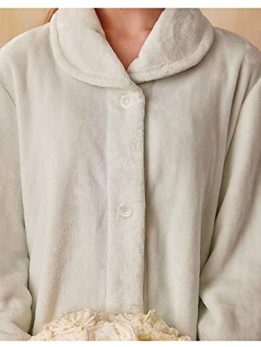 MNHJG Albornoz,Albornoz Elegante Mujer Albornoces de Invierno Ropa de Dormir Suave Franela Cálida para Dama Ropa de casa Albornoz, Verde Claro, S