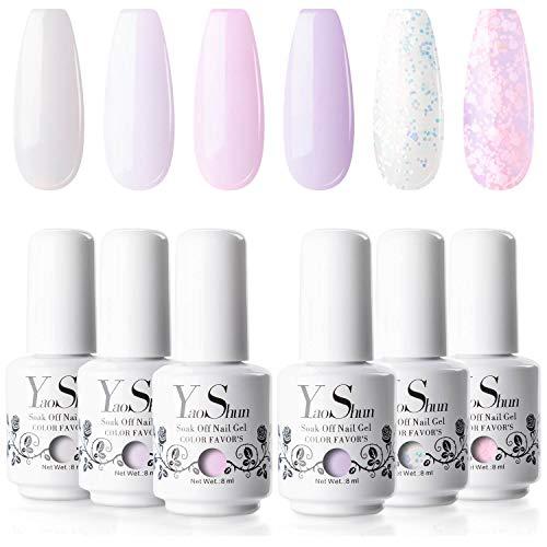 YaoShun Gel Nail Polish Kit - Soft Pinks Series 6 Colors Gel Polish Set Nail Art Gift Box, Soak Off Nail Gel UV Nail Gel Set 8ml Each Manicure Nail Art Kit