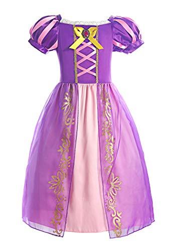 ReliBeauty Mädchen Kleid Puffärmel Prinzessin Rapunzel Kostüm Kinder, lila, 110
