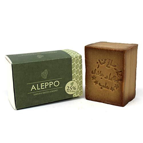 Sapone di Aleppo Originale con 25% Olio d'Alloro - Ricetta Tradizionale - Aleppo Puro e Naturale 100% - Prodotto Artigianalmente - Sapone Prezioso per il Trattamento...