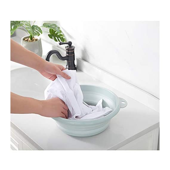 Jkhome Collapsible Wash Basin Folding Dishpan Dish Bowl Washing Tub Set of 1 Light Blue
